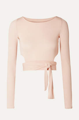 Alo Yoga Cropped Cutout Stretch-modal Wrap Top - Pastel pink