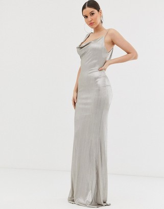 Club L London asymmetric cowl neck maxi dress-White