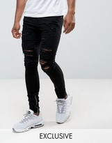 Granted Super Skinny Jeans In Black With Distressing And Zip Ankle