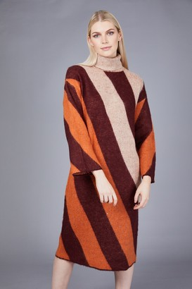 NATIVE YOUTH Rust Wool Knitted Victoria Dress - S .