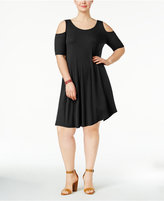 Soprano Trendy Plus Size Knit Cold-Shoulder Dress