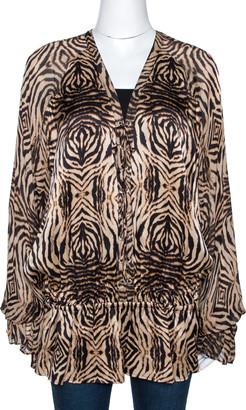 Roberto Cavalli Beige & Black Animal Print Silk Lace Up Blouse L