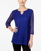 JM Collection Crochet Keyhole Top, Only at Macy's