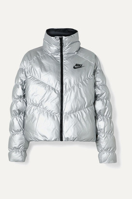 Nike Quilted Padded Metallic Shell Jacket - Silver