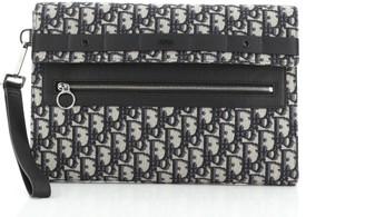 Christian Dior Safari Flap Wristlet Clutch Oblique Canvas