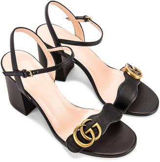 Gucci Leather Mid Heel Sandals in Black | FWRD