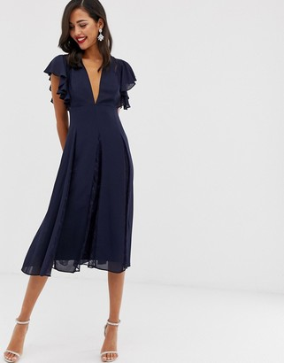 Asos Design DESIGN midi dress with lace godet panels-Navy