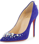Christian Louboutin Candidate Pearly-Embellished Suede Red Sole Pump