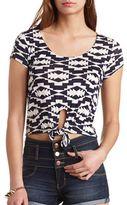 Charlotte Russe Aztec Print Short Sleeve Tie-Front Crop Top