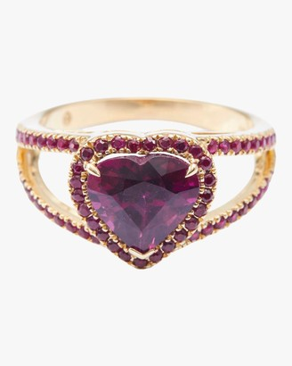 Rhodolite And Ruby Heart Ring