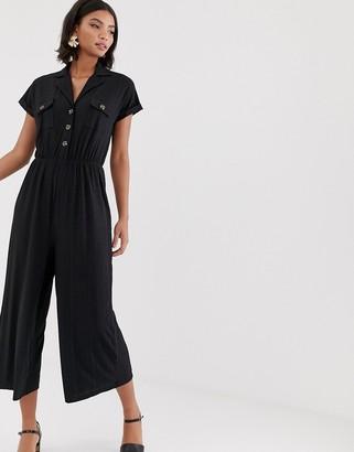 ASOS DESIGN button detail shirt jumpsuit with short sleeve