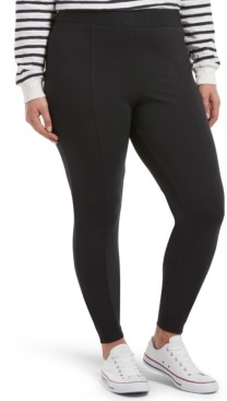 Hue Plus Size High-Waisted Black Out Ponte-Knit Leggings
