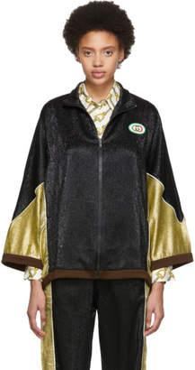 Gucci Black and Gold Crepe Lame Kimono Jacket