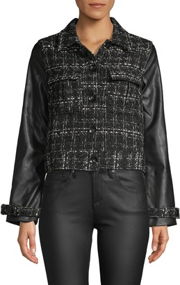 Laundry by Shelli Segal Faux Leather-Sleeve Tweed Jacket