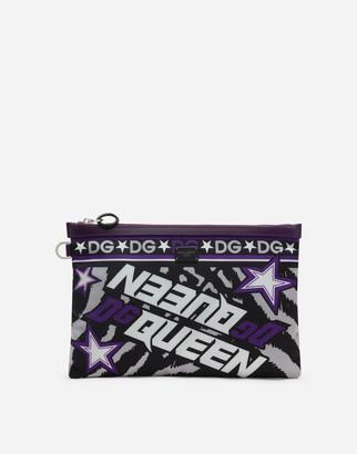 Dolce & Gabbana Nylon Clutch With Jungle Print Over A Purple Base