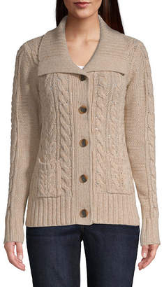 ST. JOHN'S BAY Womens Long Sleeve Button Open Front Cardigan