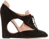 Valentino Embellished cutout suede wedge pumps