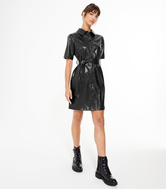 New Look Urban Bliss Leather-Look Shirt Dress