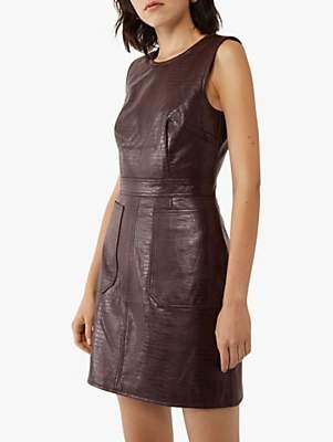 Warehouse Faux Croc Pinafore Dress, Berry
