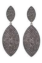 Lera Jewels Large 2 Tier Diamond Groovy Earrings