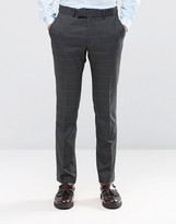 Ben Sherman Camden Super Skinny Suit Trousers In Charcoal Overcheck