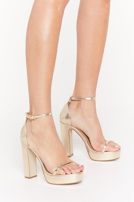 Nasty Gal Womens Just Dance Strappy Platform Heels - metallics - 3