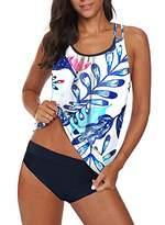 Actloe Womens 2 Piece Bathing Suits Blouson Printed Strappy Criss Cross Back Tankini Top with Bikini Bottom XL