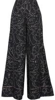 Roksanda Oldridge Printed Silk-twill Wide-leg Pants - Midnight blue