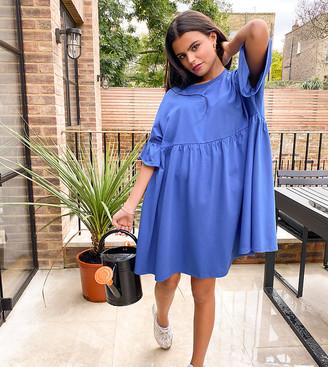 ASOS DESIGN Petite oversized ruffle sleeve smock dress in blue
