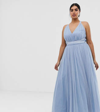 Asos PREMIUM Curve Tulle Maxi Prom Dress With Ribbon Ties-Blue