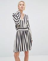 Gestuz Philla Striped Mini Dress With Deep V Neck