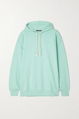ACNE STUDIOS - + Net Sustain Farrin Face Oversized Appliqued Organic Cotton-jersey Hoodie - Green
