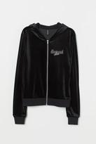 H&M Velour Hooded Jacket - Black