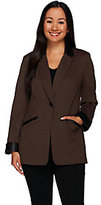 As Is Susan Graver Ponte Jacket with Faux Leather Trim
