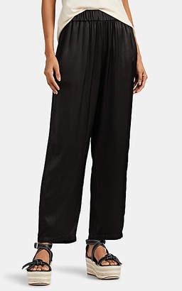 Raquel Allegra Women's Washed Satin Tapered Pants - Black