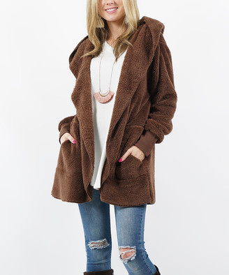 Lydiane Women's Non-Denim Casual Jackets BROWN - Brown Faux Fur Pocket Cocoon Hooded Jacket - Women