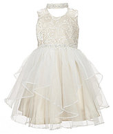 Bonnie Jean Little Girls 4-6X Beaded Embroidered Tulle Choker-Neck Dress