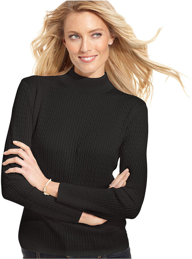 Karen Scott Petite Sweater, Long-Sleeve Mock Turtleneck