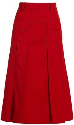 Prada Wool Gaberdine A-Line Midi Skirt