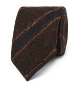 Drakes Drake's - 8cm Striped Wool Tie - Brown