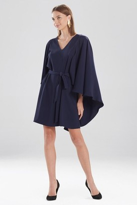 Natori Solid Fluid Crepe Cape Dress