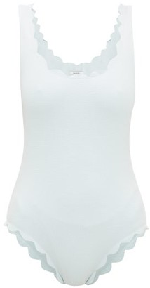 Marysia Swim Palm Springs Scallop-edged Swimsuit - Womens - Light Blue