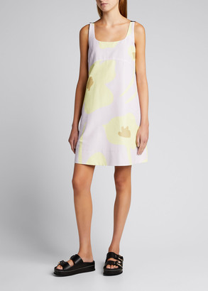 Lee Mathews Aster Scoop-Back Printed Mini Dress
