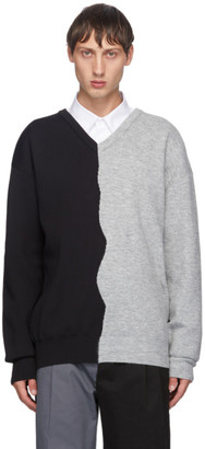 Xander Zhou Black and Grey Colorblock V-Neck Sweater