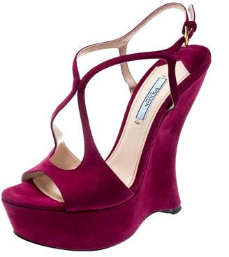 Prada Fuschia Pink Suede Leather Peep Toe Cut Out Curved Heel Platform Sandals Size 38.5