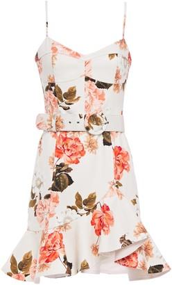 Nicholas Belted Floral-print Cotton-blend Twill Mini Dress