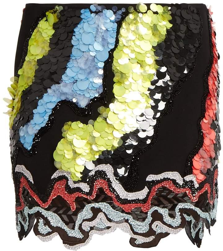 Versace Sequin-embellished silk-cady skirt
