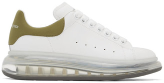 Alexander McQueen White and Gold Clear Sole Oversized Sneakers
