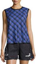 Public School Dalya Plaid Sleeveless Cotton Top, Blue Pattern