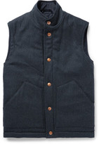 Private White V.C. - Herringbone Wool And Cashmere-blend Padded Gilet - Storm blue